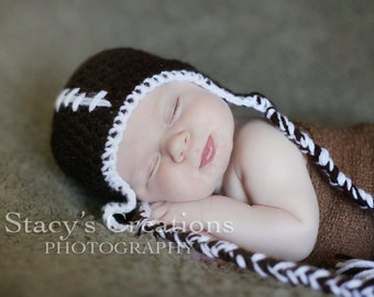 Baby Football Hat, Baby Hat with Ties, Newborn Football Hat, Infant Football Hat, Baby Sports Hat, Newborn Hat, Infant Hat, Baby Winter Hat