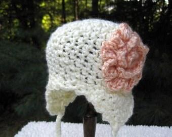 Crochet Baby Bonnet, Crochet Baby Hat, Baby Girl Hat, Newborn Girl Hat, Infant Bonnet, Crochet Flower Hat, Photo Prop, Cream, Peach