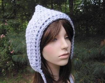 Crochet Hat, Crochet Womens Hat, Goblin Hat, Crochet Pixie Hat, Silvery Blue, Fall Fashion, Teen Hat, Crochet Elf Hat