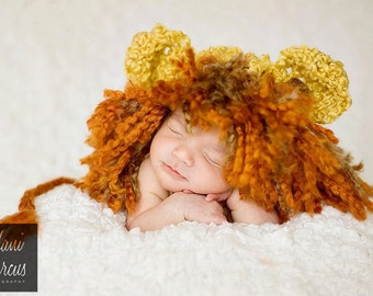 Crochet Baby Lion Hat, Newborn Animal Hat, Infant Cat Hat, Baby Halloween Hat, Newborn Costume, Zoo Animal Hat, Infant Photo Prop