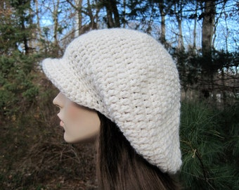 Crochet Hat Womens Slouchy Hat Teen Hat Crochet Newsboy Hat Newsboy Cap Womens Beret  Ivory Fall Fashion