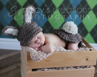 Baby Easter Hat, Crochet Baby Hat, Baby Bum Cover, Baby Bunny Hat, Bunny Tail, Easter Rabbit Hat, Easter Bunny Hat, Infant Hat, Barley Brown