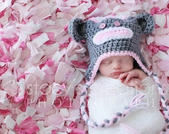 Baby Girl Sock Monkey Hat, Crochet Baby Girl Hat, Baby Monkey Hat, Newborn Monkey Hat, Baby Halloween Hat, Pink