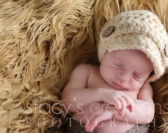 Crochet Baby Hat Newsboy Hat Boy Newsboy Hat Girl Newsboy Hat  Newborn Beanie Photo Prop Childen Clothing Beige