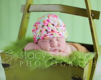 Crochet Baby Girl Hat, Crochet Baby Hat, Baby Girl Beanie, Baby Cap, Newborn Girl Hat, Infant Girl Cap, Girl Photo Prop, Pink
