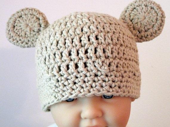 Baby Beanie - Bear Hat in Tan