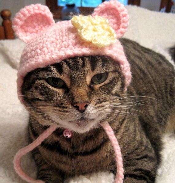 Crochet Cat Hat Bear Hat Pet Costume Halloween Photo Prop Pink Yellow