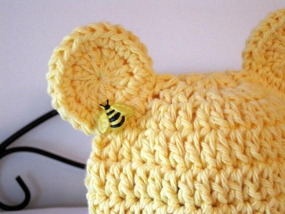 Baby Girl Hat, Crochet Baby Hat, Baby Bear Hat, Crochet Bear Hat, Baby Animal Hat, Baby Beanie, Newborn Hat, Infant Hat, Yellow