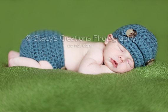 Baby Newsboy Hat, Crochet Baby Hat, Photo Prop, Diaper Cover and Hat, Baby Boy Hat, Boy Newsboy Hat, Newborn Beanie, Infant Boy Hat, Blue