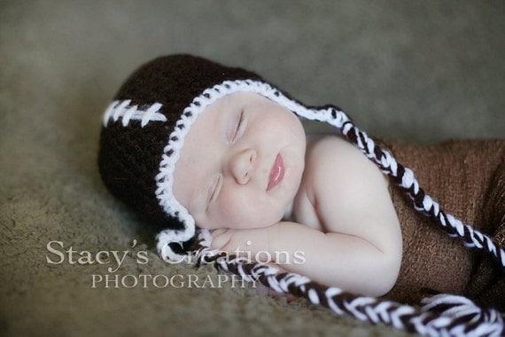 Crochet Baby Hat, Baby Football Hat, Newborn Hat, Infant Hat, Baby Sports Hat, Baby Girl Hat, Baby Boy Hat, Newborn Photo Prop, Brown