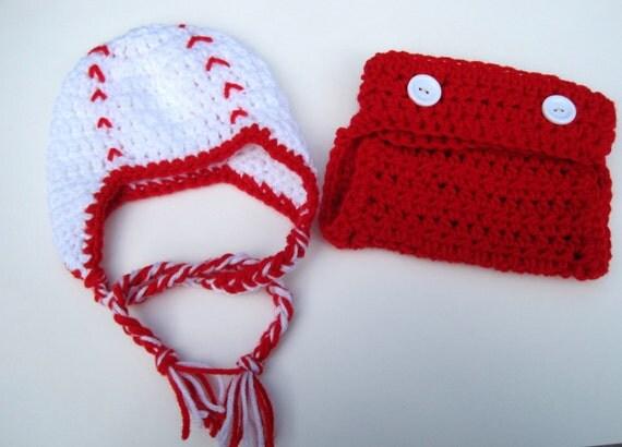 Crochet Baby Hat, Baby Baseball Hat, Diaper Cover and Hat, Newborn Baseball Hat, Baby Boy Hat, Baby Girl Hat, Photo Prop Red, White