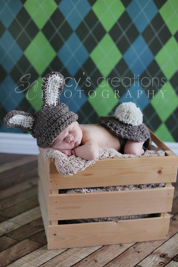 Baby Easter Hat, Crochet Baby Hat, Baby Bum Cover, Baby Bunny Hat, Bunny Tail, Easter Rabbit Hat, Easter Bunny Hat, Infant Hat, Barley Brown