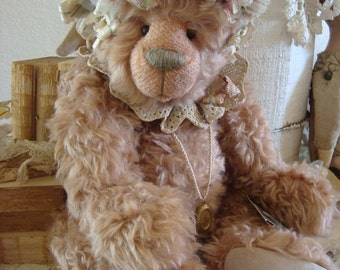 Vintage Artist Mohair Bear Altered Shabby Signed