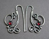 Sterling Silver Plume Earrings with Garnet- Wrought Iron Architecturally Inspired Series