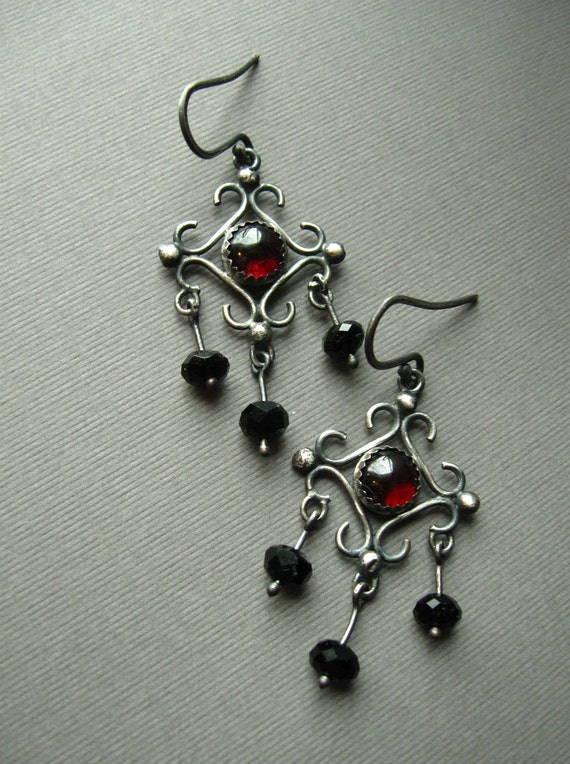 Sterling Silver Garnet and Black Onyx Chandelier Earrings, Victorian Renaissance - January Four a Month (FAM)