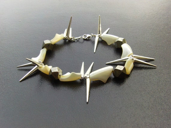 Gretchen Pineapple: beach punk sea shell pyrite spike bracelet - OOAK