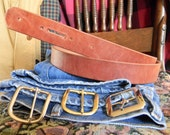 Distressed Weathered Natural Dark Tan Leather BELT -1 1/2 inch wide -12oz hide -unfinished- tell me your size