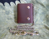 Handmade Leather Chain Snap Wallet Cherry Wood Stain oil tan leather bifold trifold
