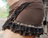 Short organic Isabelline mini skirt - Brown Small only
