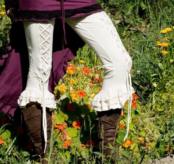 SALE.. White organic Malachite Ruffle pants - all sizes
