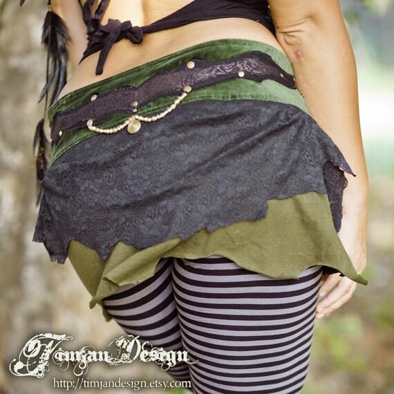 Short pixie skirt - Earth love - black and green