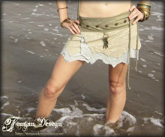 SALE.. Short pixie skirt - Ocean mist - light blue and sage green