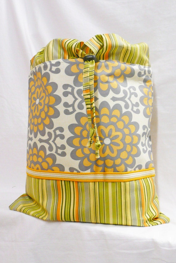 Backpack Floral Stripe Orange Grey Natural SALE SALE SALE