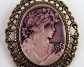 Large Purple Goddess Cameo Brooch - E1