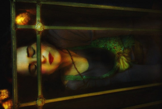 Snow White, Photo Portrait of Woman, Fairy Tale Character in Her Glass Coffin, Merle Pace