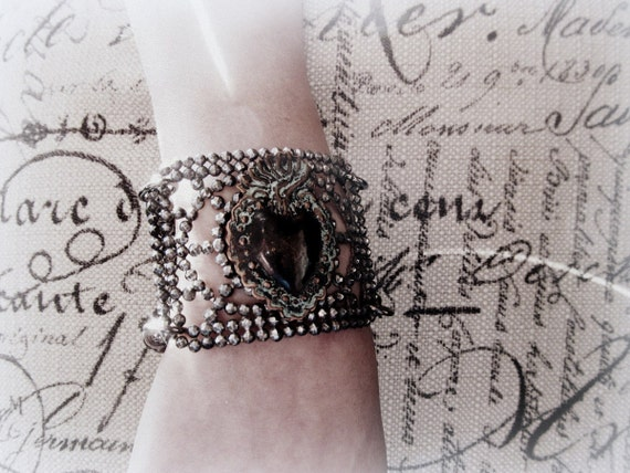 Antique French Milagro and Steel Cut Shoe Buckle Bracelet
