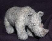 Custom Needle-felted Rhino Sculpture