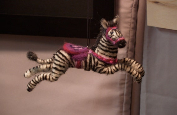 Zebra Carousel Ornament- Unique Needle Felted Sculpture