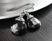Noir, Gothic, Black Spinel and Polished Oxidized Sterling Silver Earrings by Anastassia Designs
