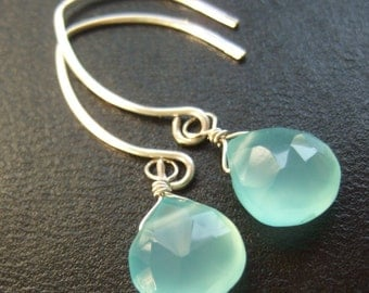 Beach Sky, Peruvian Blue Chalcedony, Tarnish Resistant Sterling Silver Solitaire Earrings gift for women