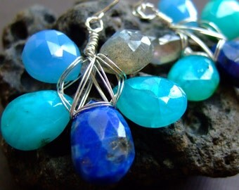 Bold Statement Blue, Neon, Turquoise, Ocean, Sterling Silver, Lapis, Chalcedony, Labradorite