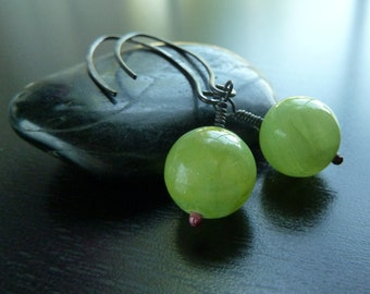 Neon, Green, Bright,  Afghan Jade and Oxidized Sterling Silver Earrings by Anastassia Designs on Etsy.