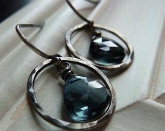 Statement Bold Modern AAA London Blue Topaz Oxidized Silver Earring Geometric Gift for sister, mom, aunt, girlfriend, wife