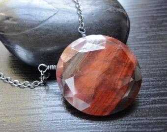 Red, Desert, Brown, Black Banded Agate and Oxidized Polished Sterling Silver. Necklace by Anastassia Designs
