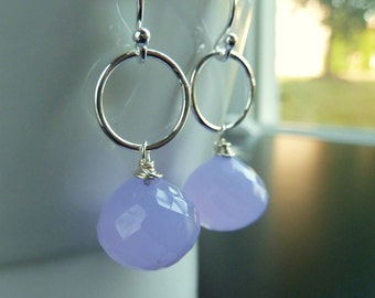 Lavender Earrings, Violet, Light Purple Chalcedony and Sterling Silver, by Anastassia Designs