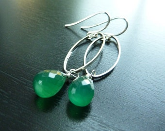 Green Earrings, Kelly Green Chalcedony and Sterling Silver, Spritely Earrings by Anastassia Designs