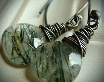 Green, Veined, Forest, Moss Quartz and Oxidized Sterling Silver Earrings, Forest