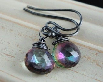 Statement Bold Modern Minimal Mystic Topaz and Oxidized Sterling Silver Earrings Gift for sister mom aunt girlfriend wife