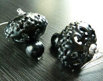Black, Dark, Filigree, Ornate. Hallows earrings by Anastassia Designs