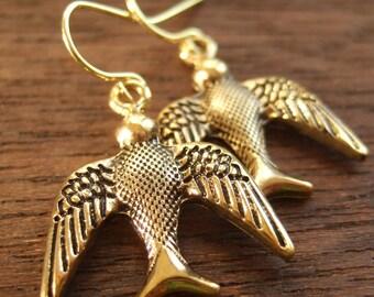 Golden Flight Bird Animal Earrings Gift for Women, mom, sister, aunt, wife