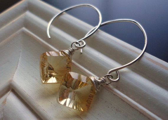 Yellow, Gold, Princess Cut AAA Citrine, Resistant Sterling Silver. Lion Earrings by Anastassia Designs