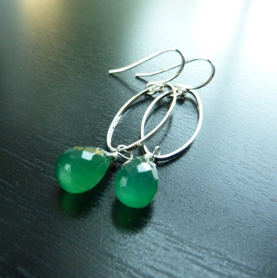 Green Earrings, Kelly Green Chalcedony and Sterling Silver, Spritely Earrings by Anastassia Designs