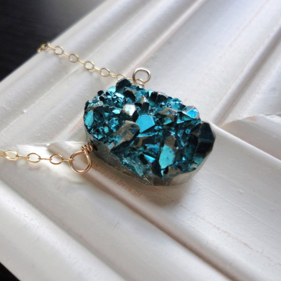 Bold Statement Druzy Green, Jewel Toned, Teal and 14t Gold Filled Necklace. Gift mom, teen, sister