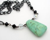 Bold and Beautiful - Light Green Natural Stone Pendant - Black chain 18 inch necklace