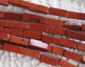 Red Jasper Rectangle Shaped Gemstone Beads 3mm x 16mm
