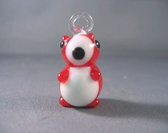 Red Puppy Dog Lampwork Glass Beads 18mm